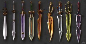 Two-handed swords and Scissors-swords concept by Guro