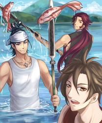 Tourabu - 3 Yari Fishermen by Zerii-chan