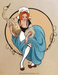 Girl with a swan by Penti-Menti