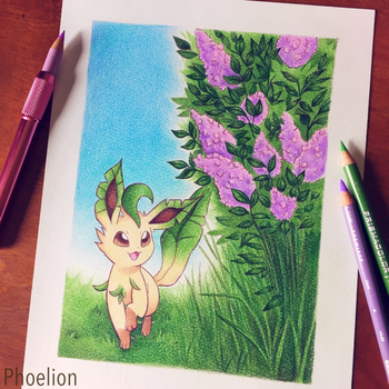 Leafeon and Lilacs by Phoelion