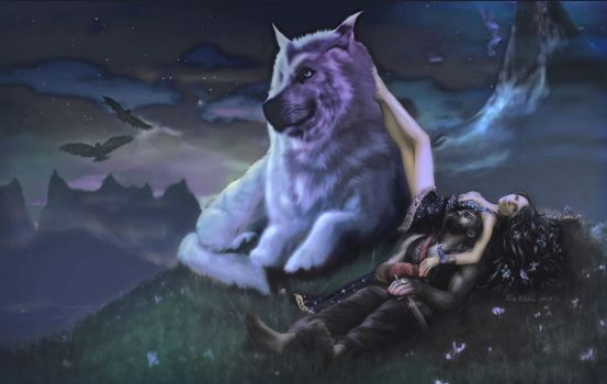Luthien tends Beren moonlight by rinthcog