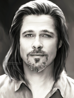 Brad Pitt Painting by perlaque