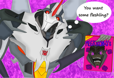 Starscream and his cereals by Paola18