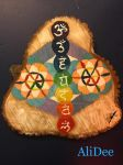 Flower of Life and Chakra Wood Painting by AliDee33