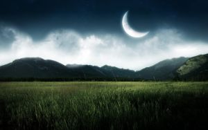 Half moon above grass and hills. by WallpaperEarth