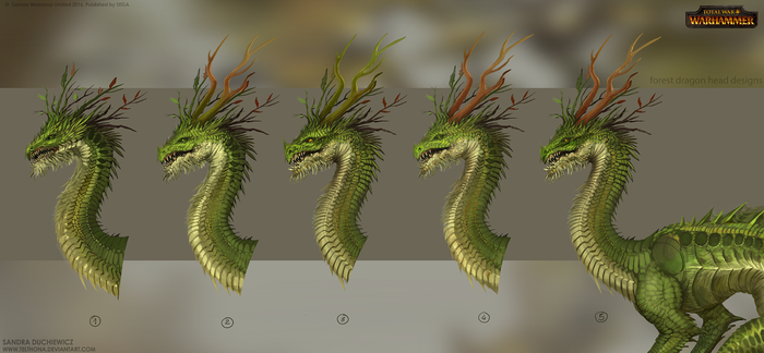 Total War: Warhammer Concept Art - Forest Dragon 2 by telthona