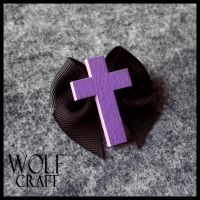 WOLF CRAFT Crucifix and Bow Brooch in Black by wickedland