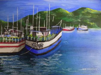 Boats By The Harbour by CindysFineArtStudio