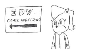 Sally Acorn and the IDW Comic Auditions sign by dth1971