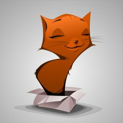 Red cat in the box by Grafikwork