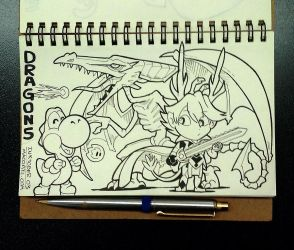 INKTOBER 03 Dragons by FlintofMother3