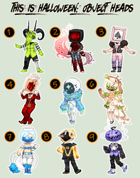Halloween OBJECT HEAD Gaia Adopts: CLOSEDALL SOLD. by fickle-adopts