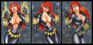 BLACK WIDOW PERSONAL SKETCH CARDS by AHochrein2010
