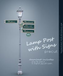 Lamp Post with Signs by kuschelirmel-stock