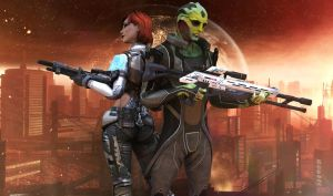 Thane Krios and Shepard by xkalipso