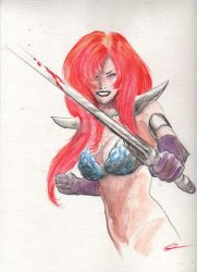 Red Sonja watercolor pin-up by GregWoronchak