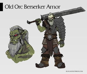 Old Orc Berserker / Armor Concept Design by monstrbox