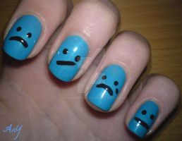 Sad Nail Design by AnyRainbow