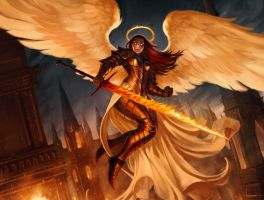 Flameblade Angel by Lucastorquato27