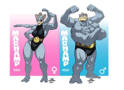 Male and Female Machamp Color by JAG-Comics