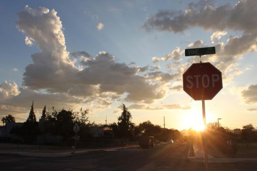Stop Sign at Sunset by JesterOfLullaby