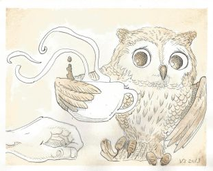 Owl Coffee Steal by vonnbriggs