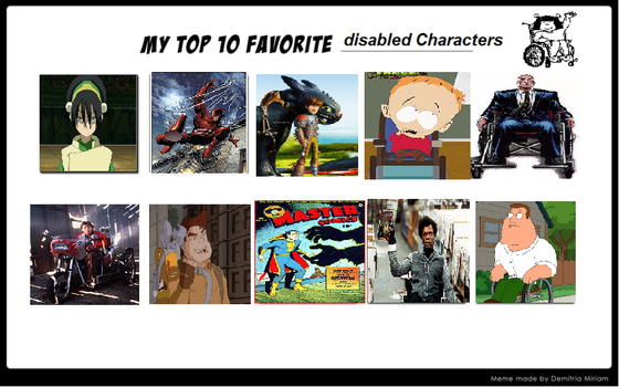 My Top 10 Disabled Characters by theaven