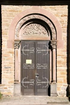 Church door with round arch by ambosshg