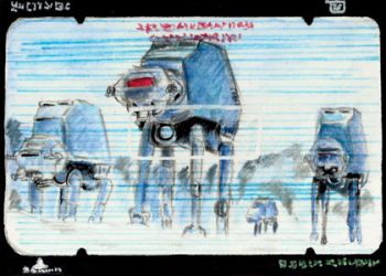 AT-ATs on Hoth Sketchcard commission by TolZsolt