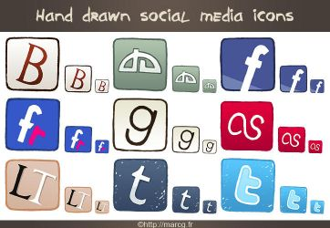 Hand drawn social media icons by Marc-G