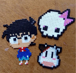 Conan, cow and skull in Hama Beads by Byakko92