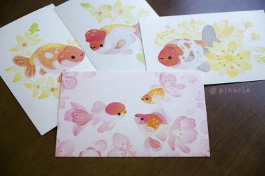 Goldfish postcards by pikaole