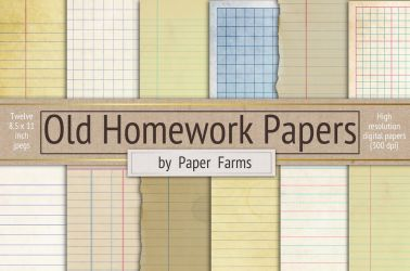 Old homework papers by GraphicAssets