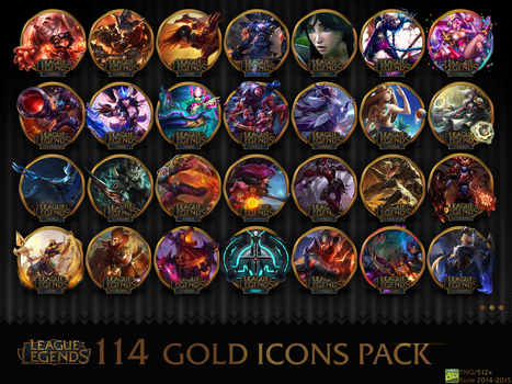 114 League of Legends gold icons pack by fazie69