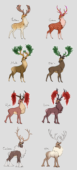 Sawsbuck Variations by backinthefarm