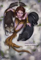 Fairy and Wolves by JPepArt