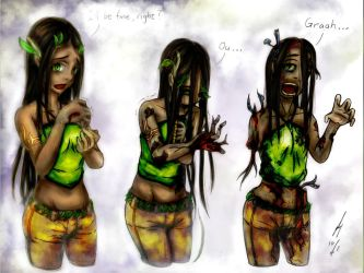Color commission: Dryad Zombification Part 1 by Discarbia