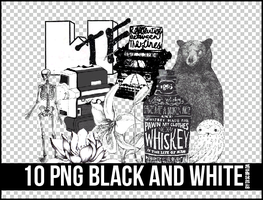 10 PNG BLACK AND WHITE+ by Discopada