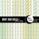 Mint and gold digital papers by AveholicD