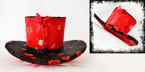 Mini top hat Elegently red and black by FireFlyExposed
