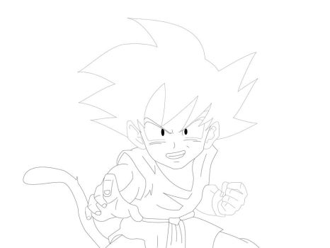 Goku Gt Kid lineart by KhaledReese