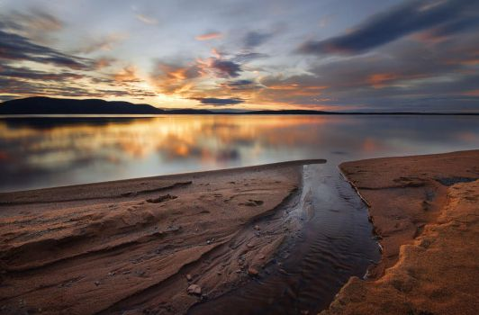 Sunset In Pallasjarvi by cred1t
