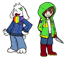 STORYSHIFT - Asriel and Chara by KarlWarrior47
