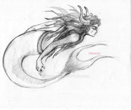 Mermaid Taurus BW by kikoeart