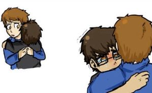 Isaac: Cry on big brother's shoulder by CopperFirecracker
