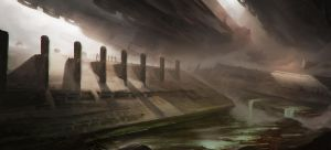 The valley of broken columns by Tryingtofly