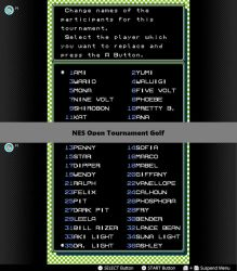 My 'roster' for NES Open Tournament Golf by WarioMan3K