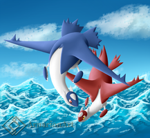 Latias and Latios by ArnarionArt