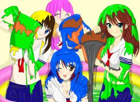 Adorable Nanako covered in slime by her friends by mmasia