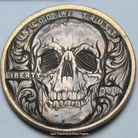 Hand engraved skull cent by shaun750